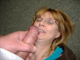 Mature couple handjob and facial at work