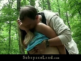 Bdsm fantasy into the forest with busty slave