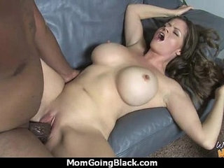 Sexy mom gets a creamy facial after getting pounded by a black dude