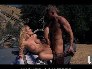 Hot blonde Nicole Aniston picks up a hitchhiker for road side sex