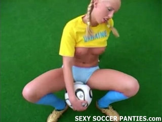 Blonde Ukranian soccer hottie grinding on the ball